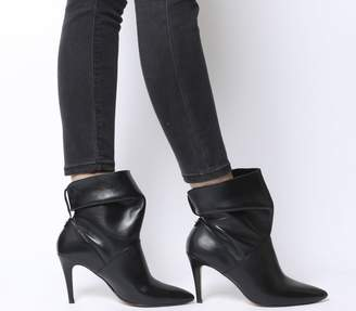 294c7ec8c75 Office Aura Dressy Ruched Mid Heel Ankle Boots Black Leather