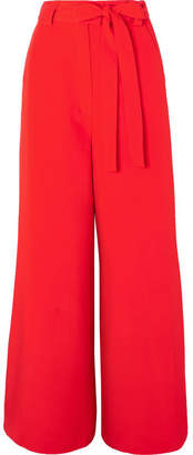 Etro Belted Silk-crepe Wide-leg Pants - Red