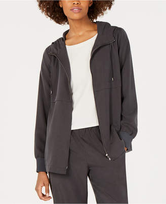 Eileen Fisher Hooded Zip-Front Tencel and Recycled Polyester Jacket