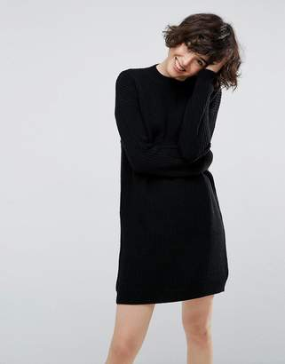Asos Chunky Knit Dress In Rib With High Neck