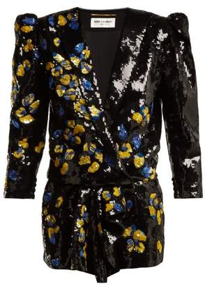 Saint Laurent Floral Sequined Playsuit - Womens - Black Multi
