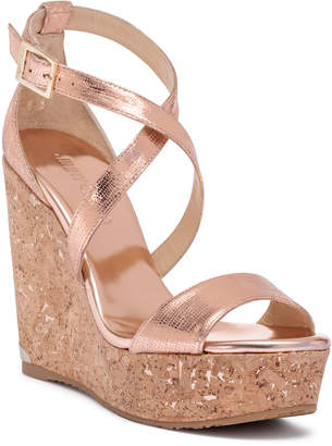 Jimmy Choo Portia 120 metallic tea rose leather wedges
