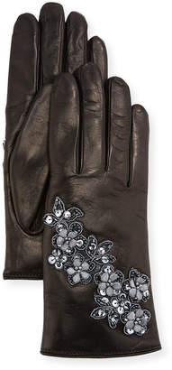 Guanti Giglio Fiorentino Floral Applique Leather Gloves
