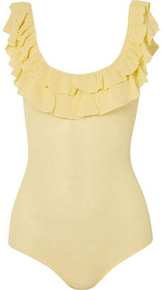 Ulla Johnson Arlee Ruffled Ribbed Cotton Bodysuit - Pastel yellow