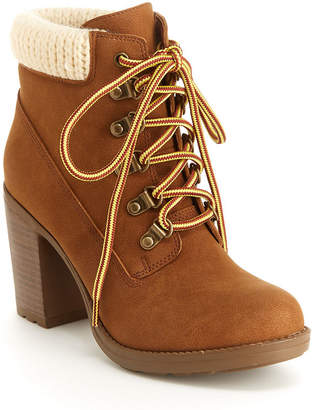 UNIONBAY Womens Harley Stacked Heel Lace-up Bootie