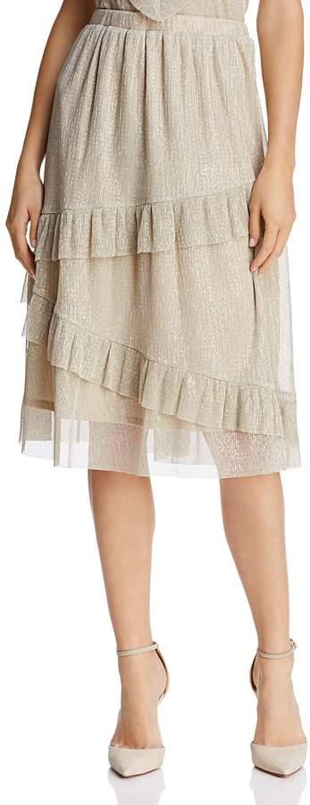 June & Hudson Ruffled Metallic Skirt