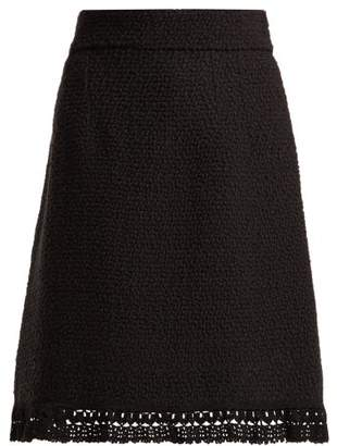 Dolce & Gabbana Boucle Wool A Line Skirt - Womens - Black