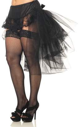 Leg Avenue Women's Plus Size Tulle Bustle Skirt With Lace Front And Satin Bow Accent, Black, 3X-4X