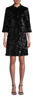 ABS by Allen Schwartz Collection Mock-Neck Sequin Dress