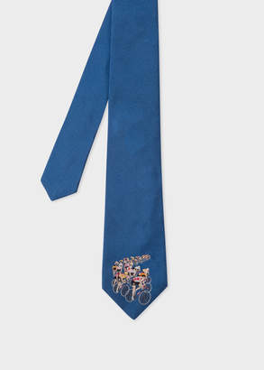 Paul Smith Men's Blue Silk Tie With Embroidered 'Peloton'