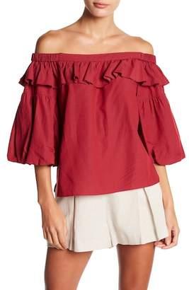 BCBGMAXAZRIA Off Shoulder Shirred Top