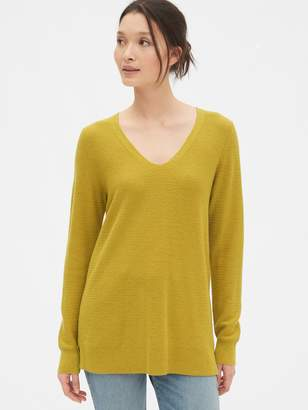 Gap True Soft Textured V-Neck Tunic Sweater