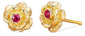 Johnny Was 14K Gold Rosebud Studs With Ruby Earrings