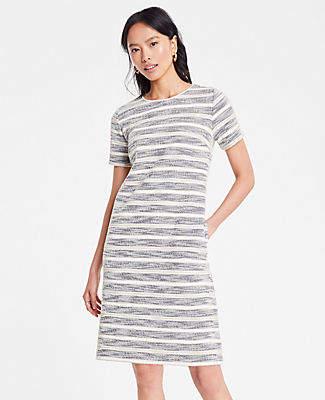 Ann Taylor Petite Textured Stripe Knit Shift Dress