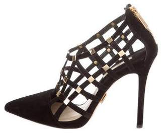 Michael Kors Suede Embellished Cage Pumps