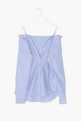 Genuine People Striped Off Shoulder Button Down Shirt