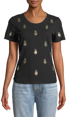 Romeo & Juliet Couture Pineapple Embroidered Short-Sleeve Tee