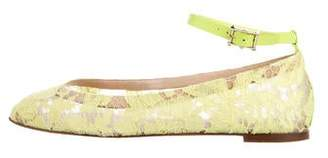 Valentino Lace Ankle Strap Flats