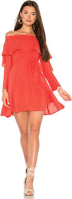 Line & Dot Raquel Off Shoulder Dress in Orange $82 thestylecure.com