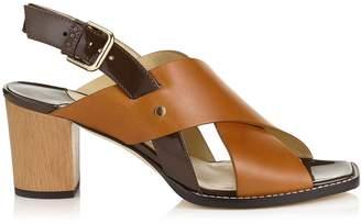 Jimmy Choo AIX 65 Cuoio Mix Vachetta Leather and Patent Strap Sandal