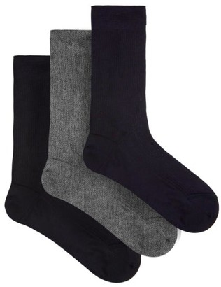 Raey - Set Of Three Silk Socks - Mens - Grey Multi