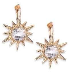 Alice + Olivia Anzie Aztec White Topaz& 14K Yellow Gold Starburst Earrings