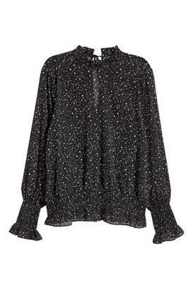 H&M Crinkled Chiffon Blouse - Black/stars - Women