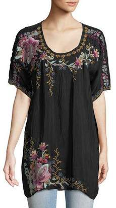 Johnny Was Alyssa Floral-Embroidered Long Georgette Tunic, Plus Size