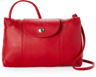 Longchamp Cherry Le Pliage Cuir Leather Crossbody