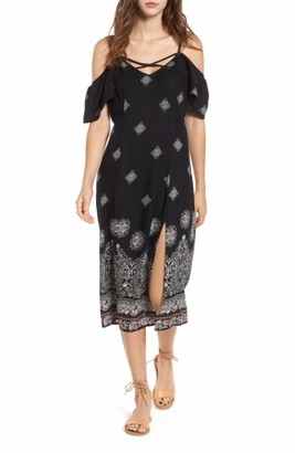 Women's Band Of Gypsies Print Cold Shoulder Midi Dress $79 thestylecure.com