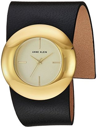 Anne Klein (アン クライン) - Anne Klein Women 's Quartz Metal andレザーDress Watch , Color : Black ( Model : AK / 2652chbk )