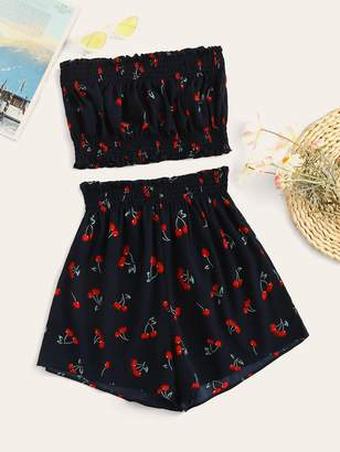 Shein Cherry Print Shirred Tube Top With Shorts