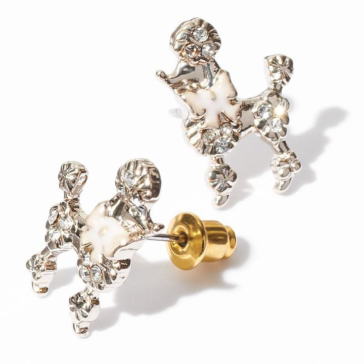 Vera Wang Princess gold tone simulated crystal textured poodle stud earrings