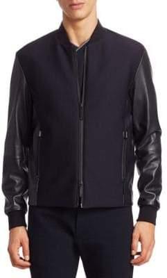 Emporio Armani Mixed Media Leather Jacket