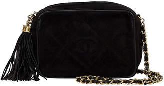 One Kings Lane Vintage Chanel Black Suede Tassel Camera Bag - Vintage Lux