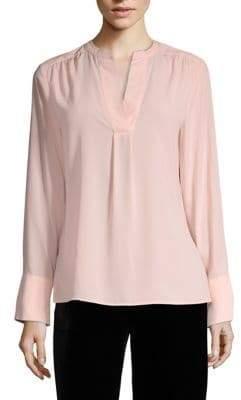 Calvin Klein Solid V-Neck Long Sleeve Blouse