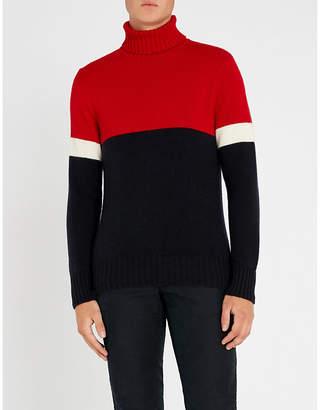 Ralph Lauren Purple Label Colour-block cashmere turtleneck jumper