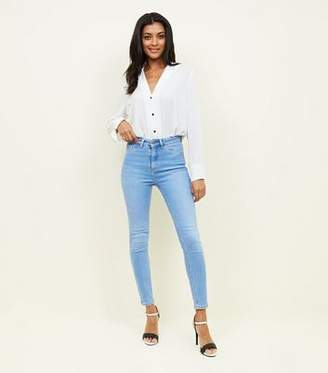 New Look Bright Blue High Waist Super Skinny Hallie Jeans