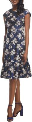 Gal Meets Glam Jenny Wallpaper Rose Jacquard Fit & Flare Dress