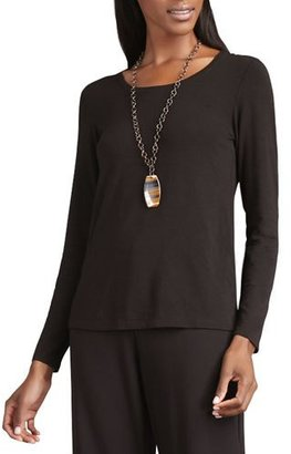 Eileen Fisher Long-Sleeve Slim-Jersey Tee, Chocolate $158 thestylecure.com