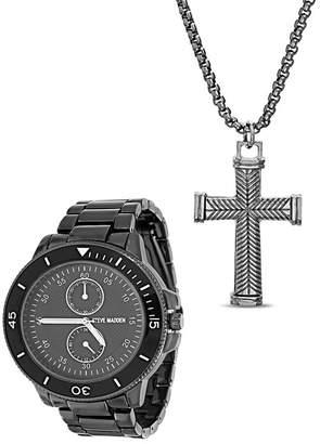 Steve Madden Men's Quartz Bracelet Watch & Pendant Necklace Set, 45mm