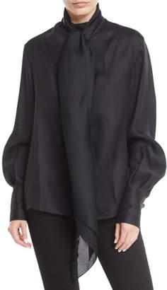 The Row Asta Tie-Neck Long-Sleeve Silk Top