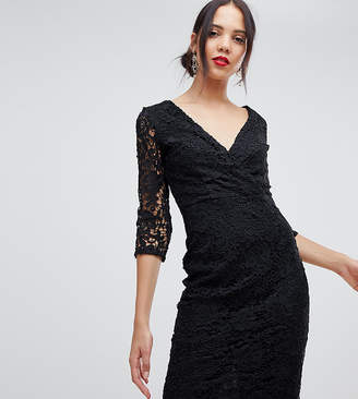 Paper Dolls Tall crochet lace wrap front pencil dress in black