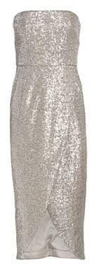 ML Monique Lhuillier Strapless Sequin Midi Dress