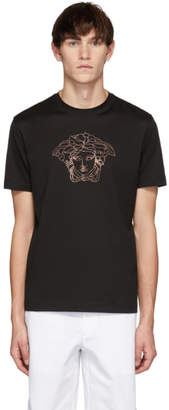 Versace Black Beaded Medusa T-Shirt
