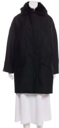 Giambattista Valli Fox Fur-Trimmed Knee-Length Coat