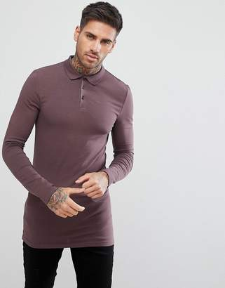 Asos DESIGN longline muscle fit long sleeve polo in purple