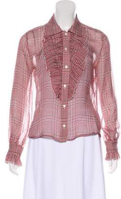 Cacharel Plaid Button-Up Top