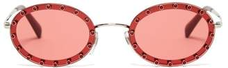 Valentino Crystal Embellished Oval Frame Sunglasses - Womens - Dark Pink