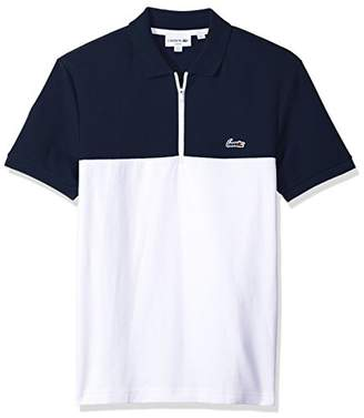 Lacoste Men's Short Sleeve Color-Block Honeycomb Pique Slim Polo